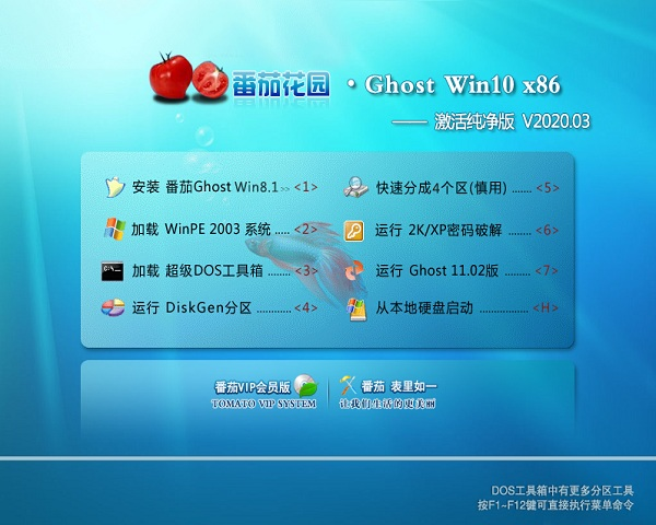 番茄花园 Ghost Win10 32位 激活纯净版 V2020.03